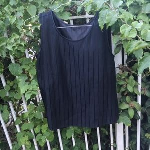 Pinstriped Silk Black Blouse